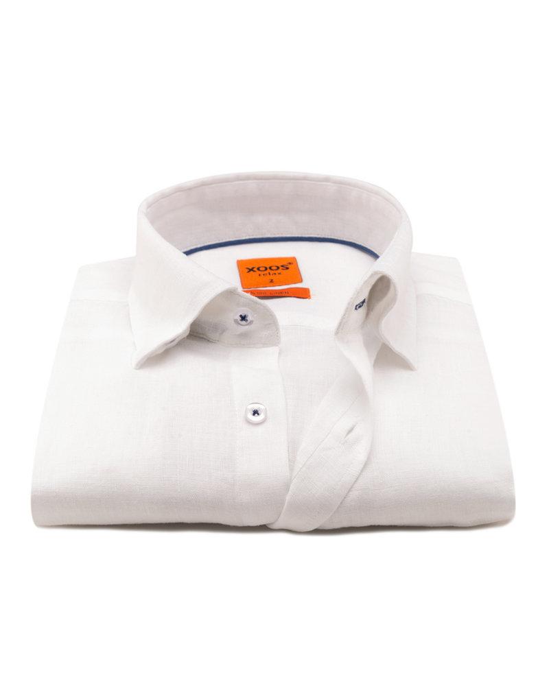 XOOS Men's linen white dress shirt and navy braid