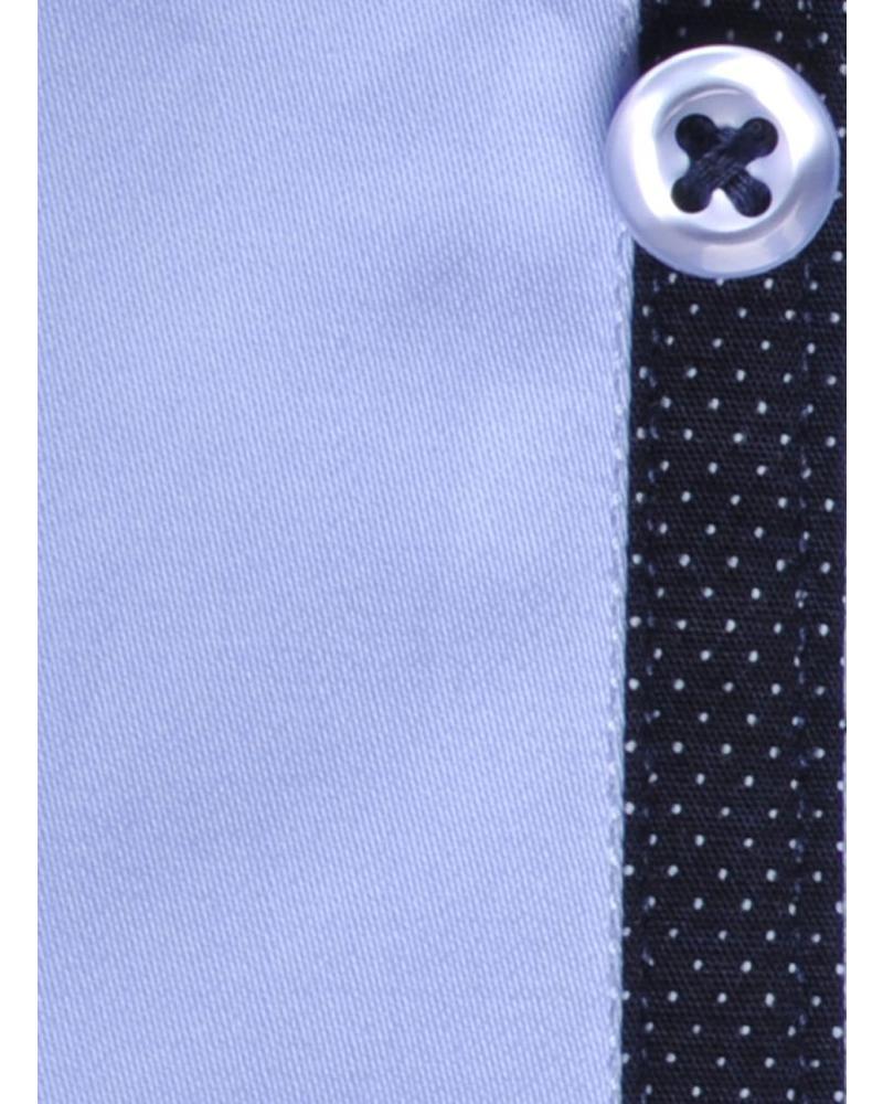 XOOS CLASSIC-FIT light blue shirt navy polka dot lining