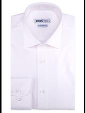 XOOS Men's white gabardeen cotton dress shirt (Double Twisted)
