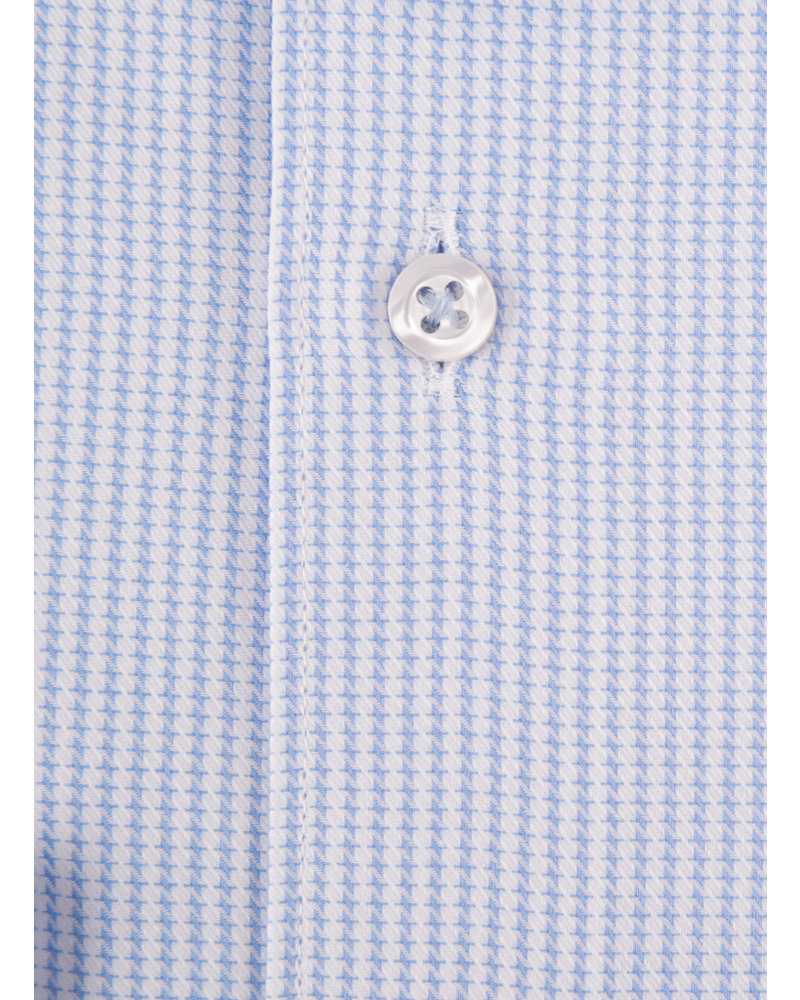 XOOS Men's woven houndstooth light blue dress shirt (Double Twisted)
