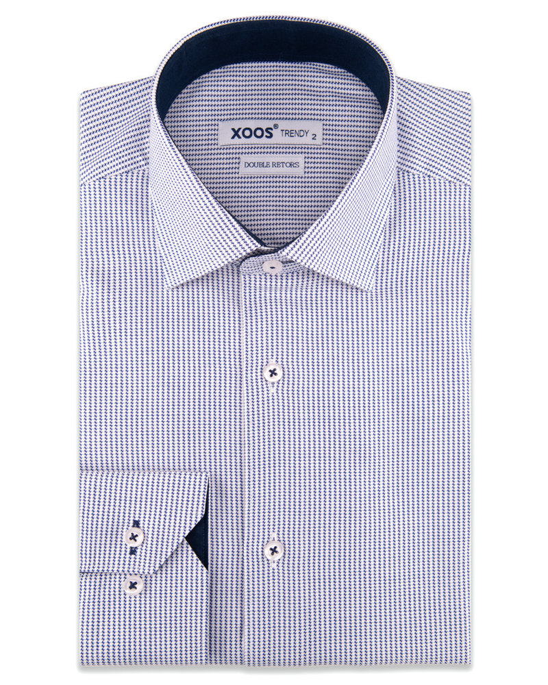 XOOS Men's navy blue houndstooth dress shirt