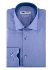 XOOS Chemise homme bleue à motifs tissés blancs (Double Retors)