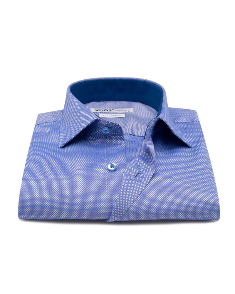 XOOS Men's light blue dress shirt with woven white dots (Double twisted)