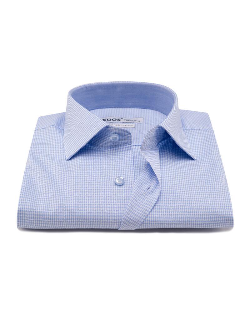 XOOS Lighblue vichy checks men's fitted dress shirt