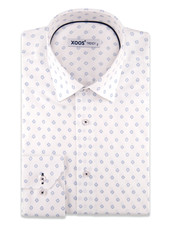 XOOS Men's White dress shirt with printed navy patterns