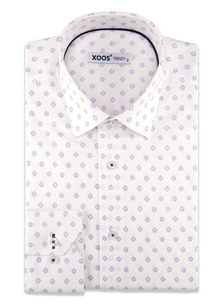 XOOS Chemise homme blanche à motifs imprimé et galon navy