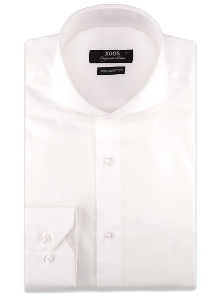 XOOS Men's white Full Spread collar gabardeen fitted dress shirt (Double Twisted)