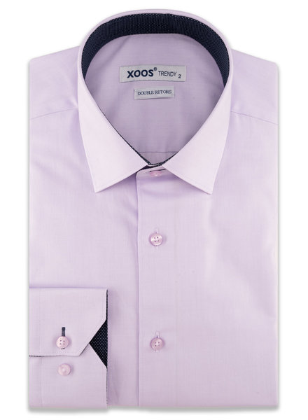 XOOS Men's lavander dress shirt and navy polka dots lining (Double Twisted)