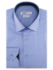 XOOS Men's blue dress shirt and navy polka dots lining (Double Twisted)