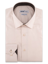 XOOS Men's beige dress shirt and brown woven lining (Double Twisted)