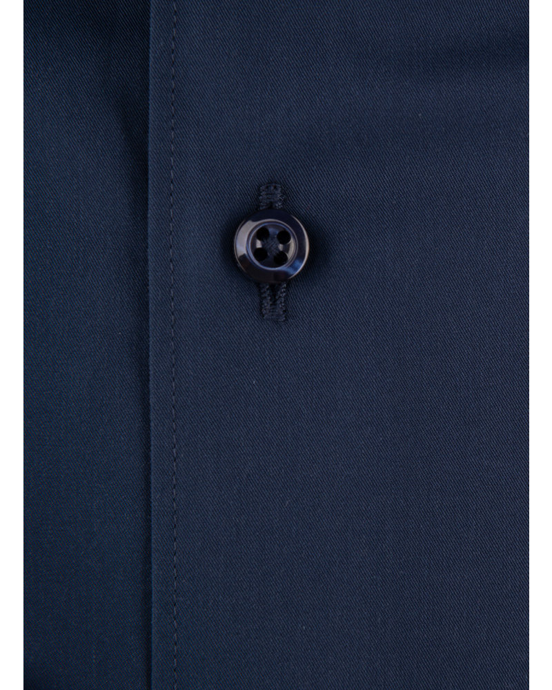 XOOS Men's navy blue dress shirt and light blue polka dots lining (Double Twisted)