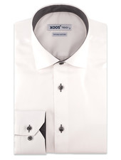 XOOS Men's white dress shirt and charcoal polka dots lining (Double Twisted)