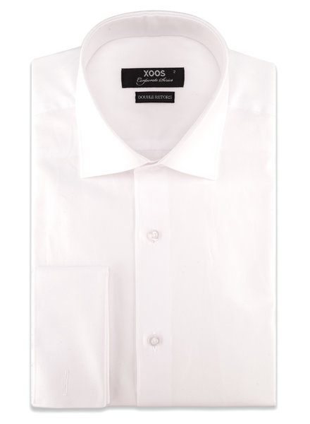 XOOS Men's white honeycomb woven French cuffs dress shirt (Double Twisted)