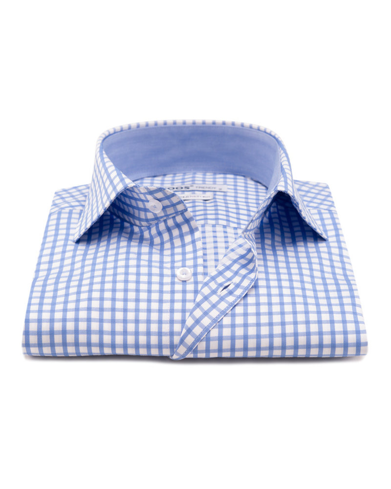 XOOS Men's light blue checkered dress shirt (Double Twisted)