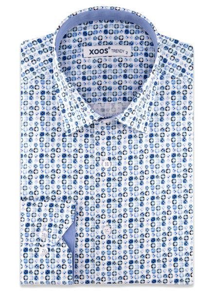 "XOOS Men's light blue ""star in a square"" printed dress shirt"