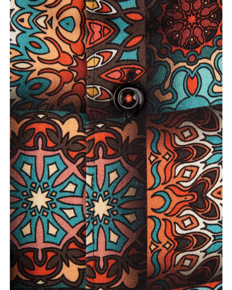 XOOS Men's seventies printed pattern dress shirt
