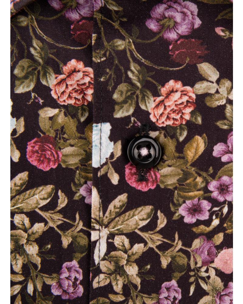 XOOS Men's brown floral print dress shirt pink lining
