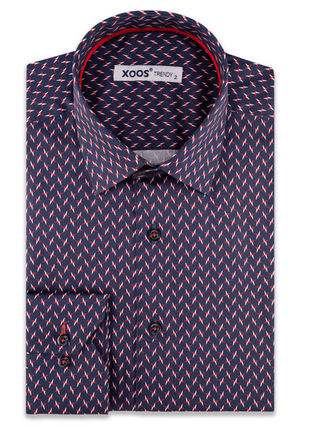 XOOS Men's navy dress shirt  white and red star print