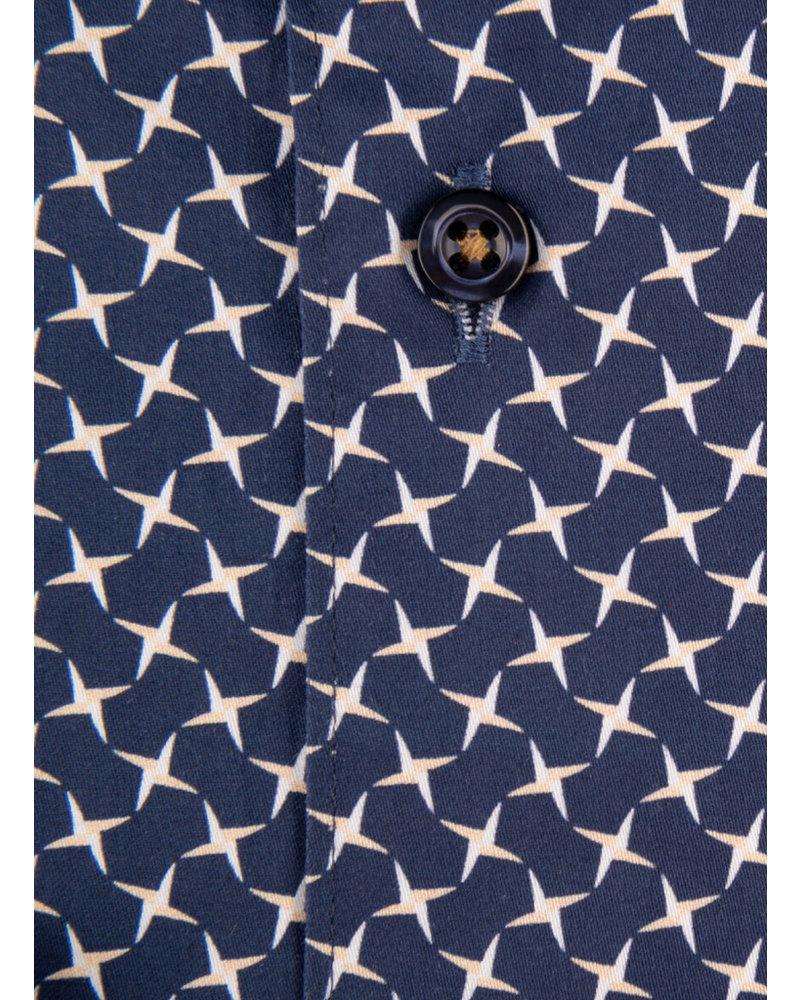 XOOS Men's navy dress shirt  white and gold star print