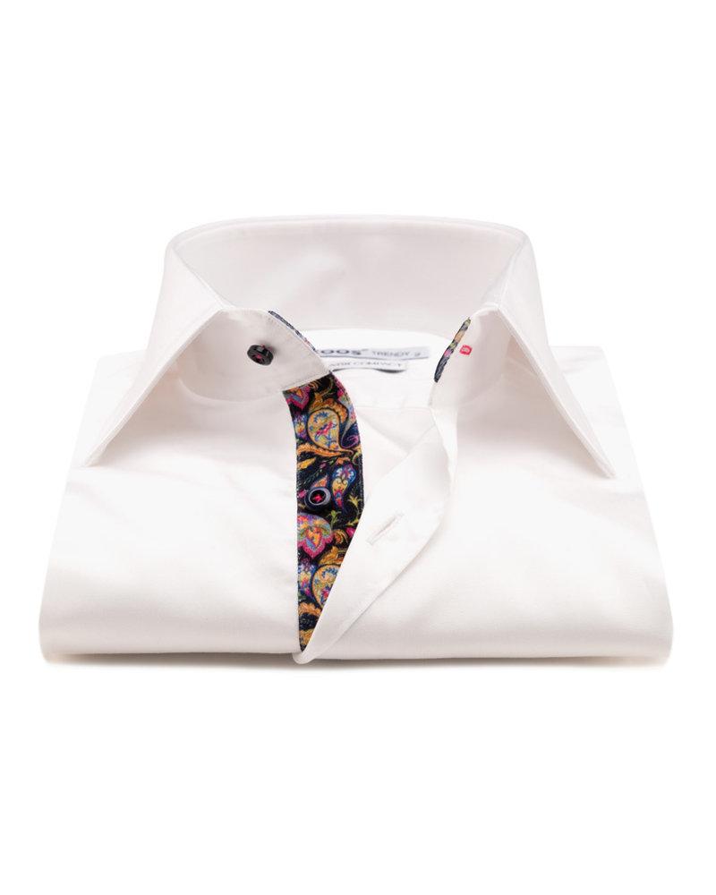 XOOS Men's white dress shirt golden Paisley lining