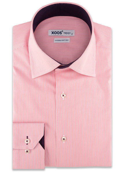 XOOS Men's pink striped dress shirt and purple lining (Double Twisted)
