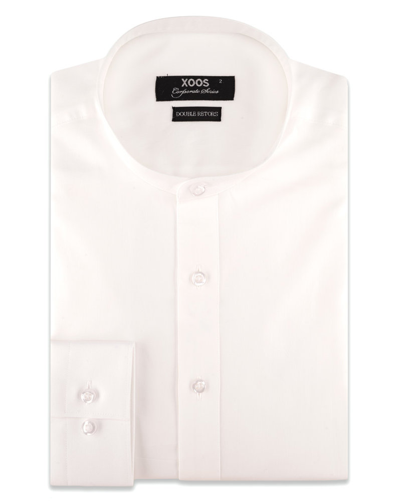 XOOS Men's officer collar white dress shirt (Double Twisted)