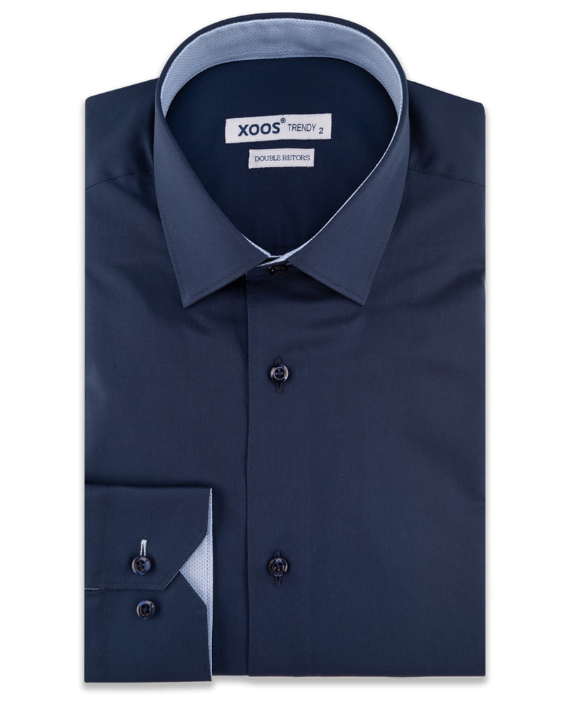 XOOS Men's navy blue CLASSIC-FIT dress shirt and light blue polka dots lining (Double Twisted)