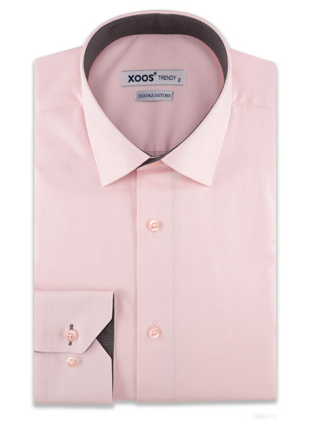 XOOS Men's pink CLASSIC-FIT dress shirt and charcoal polka dots lining (Double Twisted)