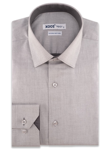 XOOS Men's gray CLASSIC-FIT dress shirt and charcoal polka dots lining (Double Twisted)