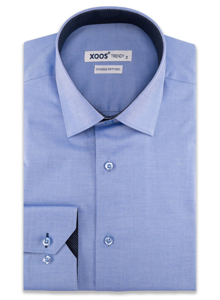 XOOS Men's blue CLASSIC-FIT dress shirt and navy polka dots lining (Double Twisted)