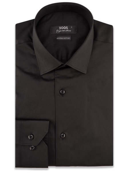 XOOS Men's black CLASSIC-FIT dress shirt (Double Twisted)