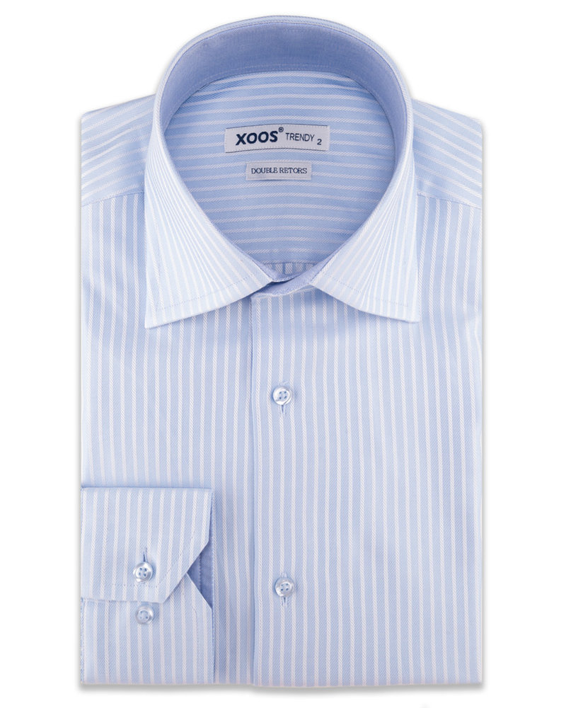 XOOS Men's light blue striped CLASSIC-FIT dress shirt (Double Twisted)