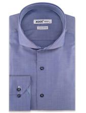 XOOS Men's blue herringbone CLASSIC-FIT dress shirt Full Spread collar