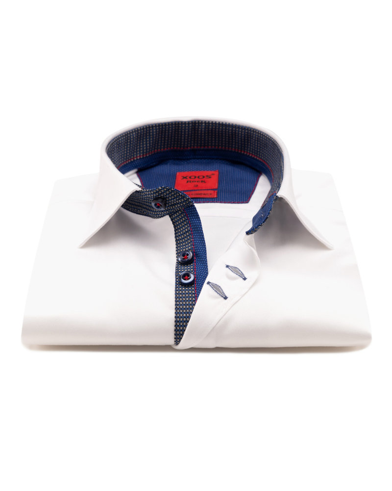 XOOS Men's white CLASSIC-FIT dress shirt blue lining (double chest-button)