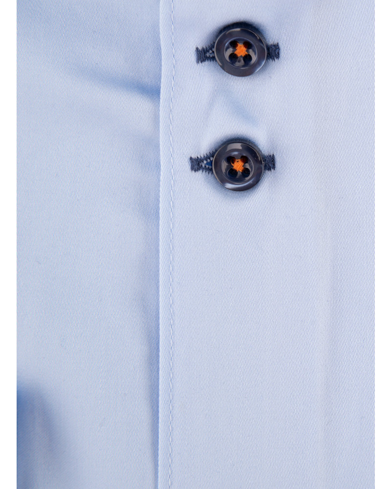XOOS Men's light blue CLASSIC-FIT dress shirt blue lining (double chest-button)
