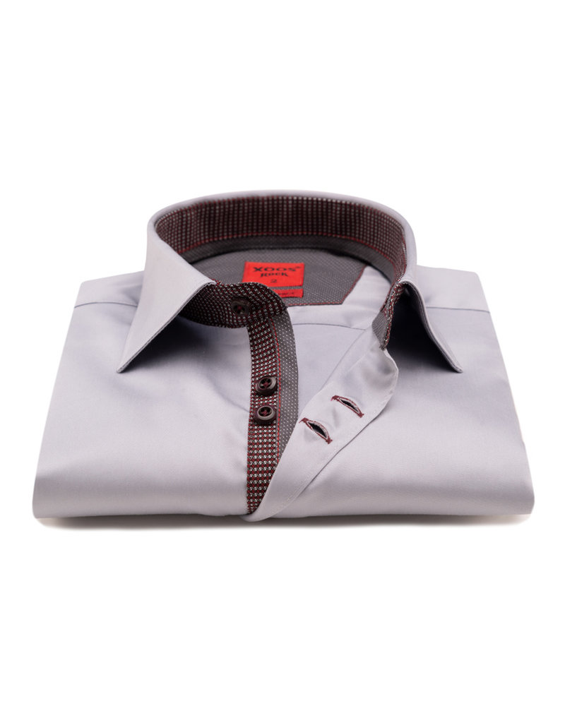 XOOS Men's gray CLASSIC-FIT dress shirt burgundy lining (double chest-button)