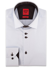 XOOS Men's diamond blue CLASSIC-FIT dress shirt brown lining (double chest button)