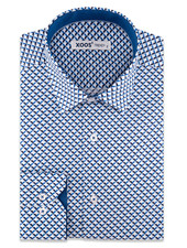 XOOS Men's blue CLASSIC-FIT dress shirt with 3D printed pattern