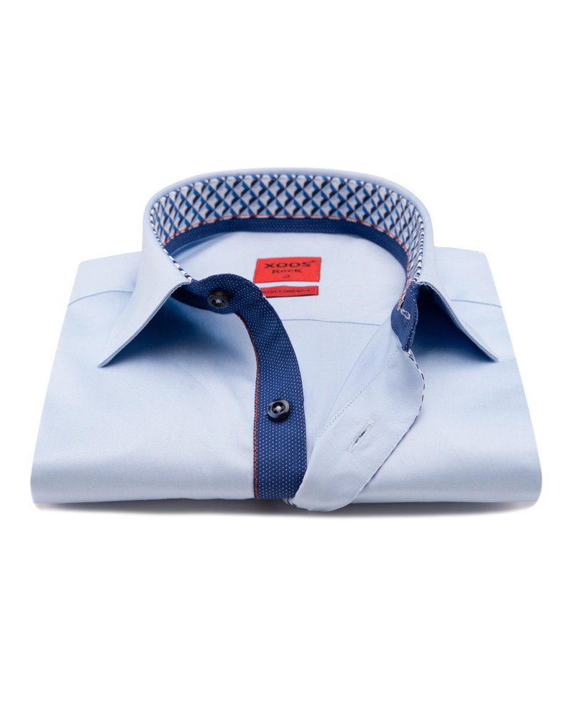 XOOS Men's blue CLASSIC-FIT dress shirt Half hidden blue printed placket