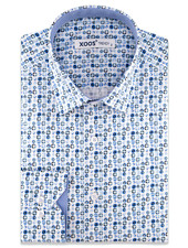 """XOOS Men's light blue """"star in a square"""" printed CLASSIC-FIT dress shirt"""