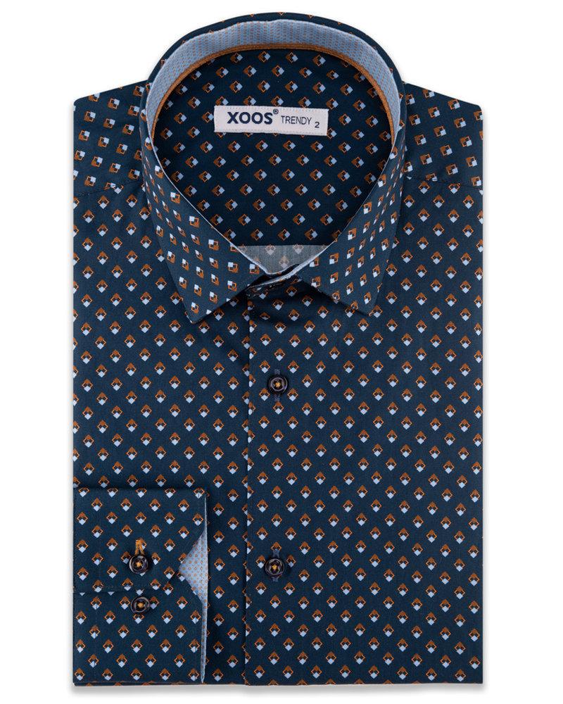 XOOS Men's navy blue CLASSIC-FIT dress shirt with brown diamond print