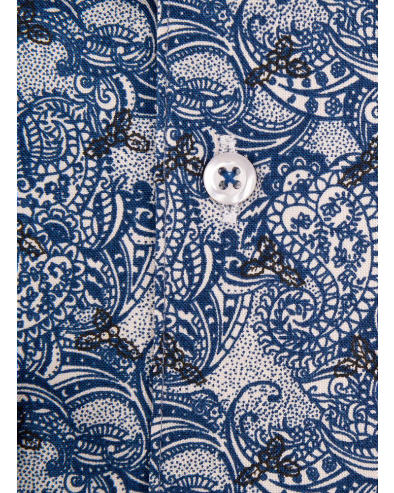 XOOS Men's navy blue CLASSIC-FIT dress shirt with paisley print
