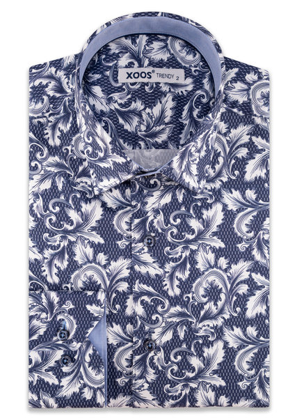 XOOS Men's navy blue CLASSIC-FIT dress shirt with baroque floral print