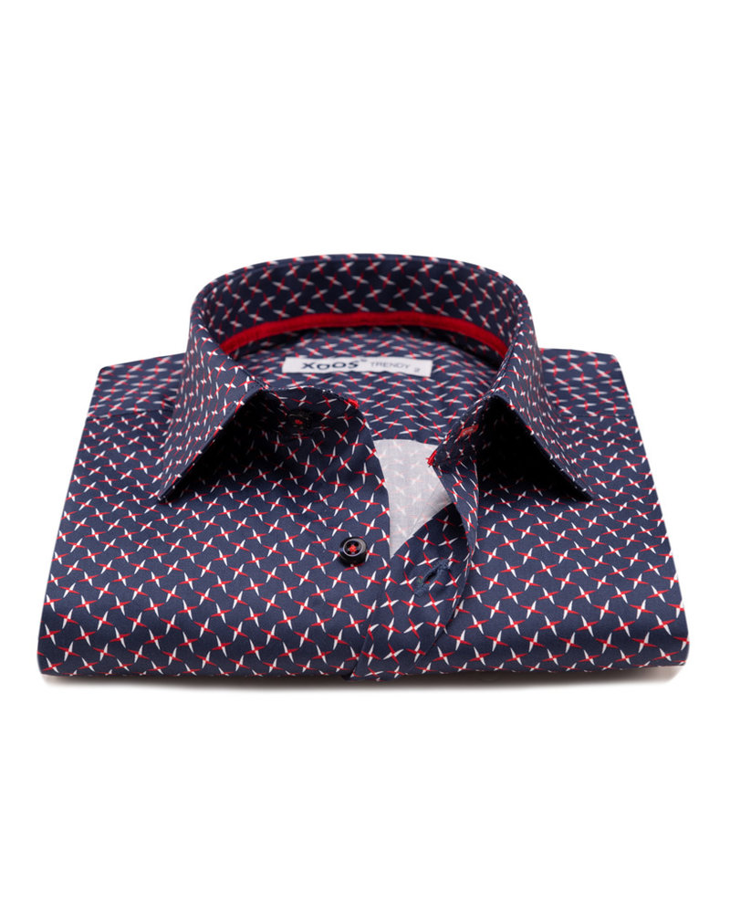 XOOS Men's navy CLASSIC-FIT dress shirt  white and red star print