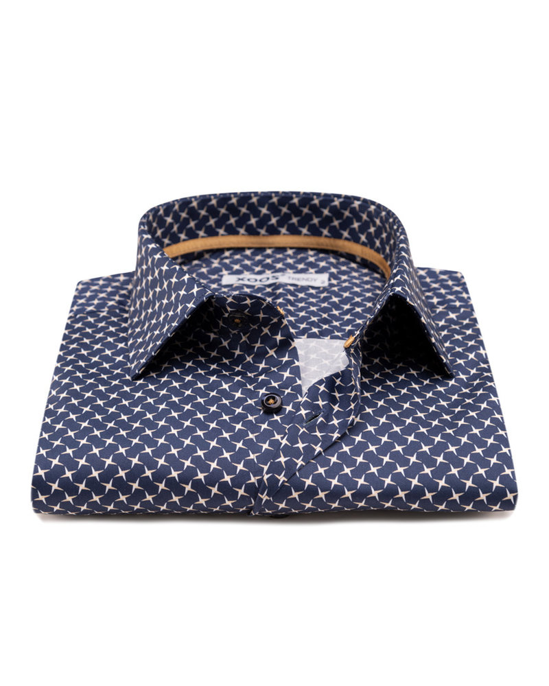 XOOS Men's navy CLASSIC-FIT dress shirt  white and gold star print