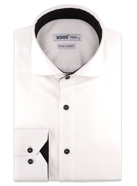 XOOS Men's white CLASSIC-FIT dress shirt and black lining