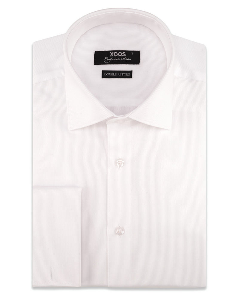XOOS Men's white cotton piqué French cuffs dress shirt (Double Twisted)