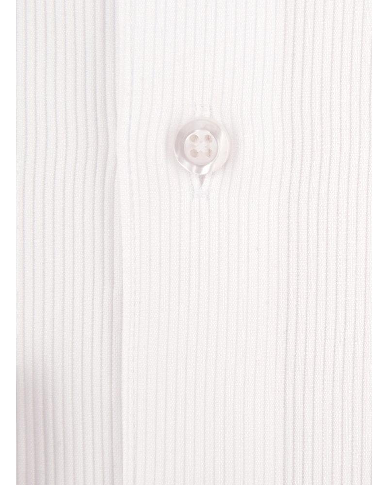 XOOS Men's white cotton piqué dress shirt (Double Twisted)