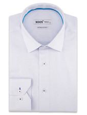 XOOS Men's white fitted dress shirt with light blue woven patterned (Double Twisted)