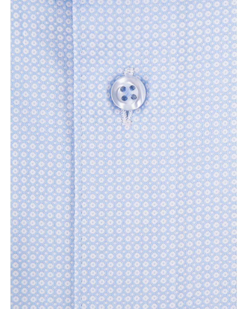 XOOS Men's light blue fitted dress shirt with woven cicle patterns (Double Twisted)